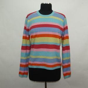 Garnet Hill 100% Cashmere Striped Sweater M